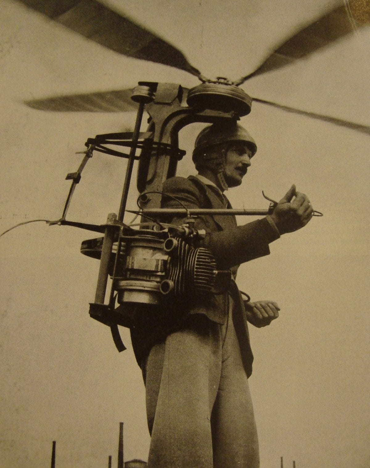 Man helicopter suit