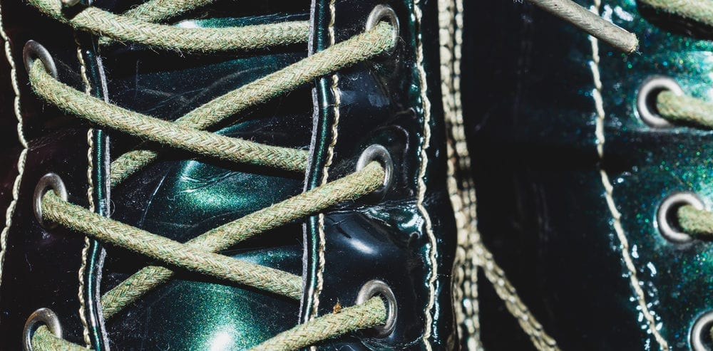 Close-up of laced boots